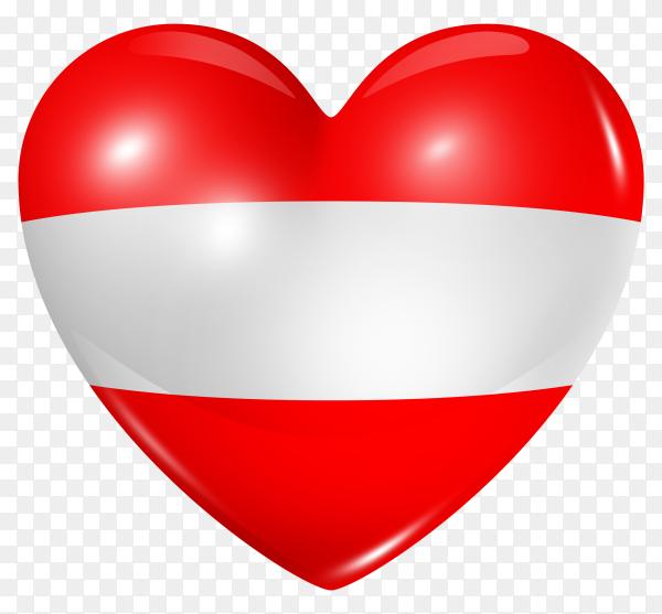 Austria flag in heart shape on transparent background PNG