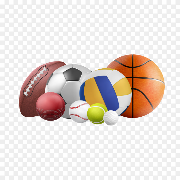 Balls for sports on transparent background PNG
