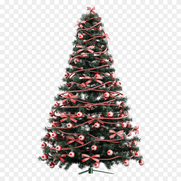 Beautiful Christmas tree decorated on transparent background PNG