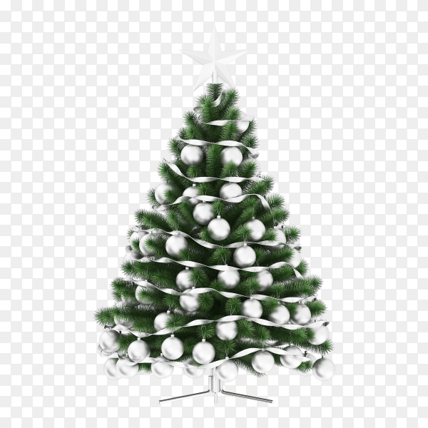 Beautiful Christmas tree isolated on transparent background PNG