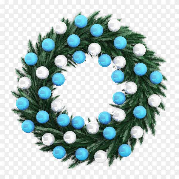 Beautiful Christmas wreath on transparent background PNG