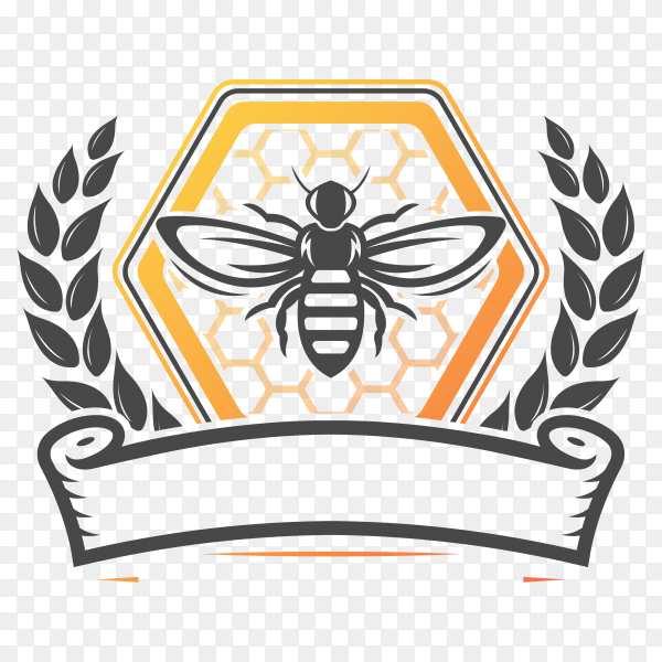 Bee farm vintage isolated label on transparent background PNG