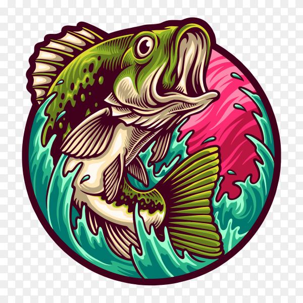 Big bass fishing illustration on transparent background PNG