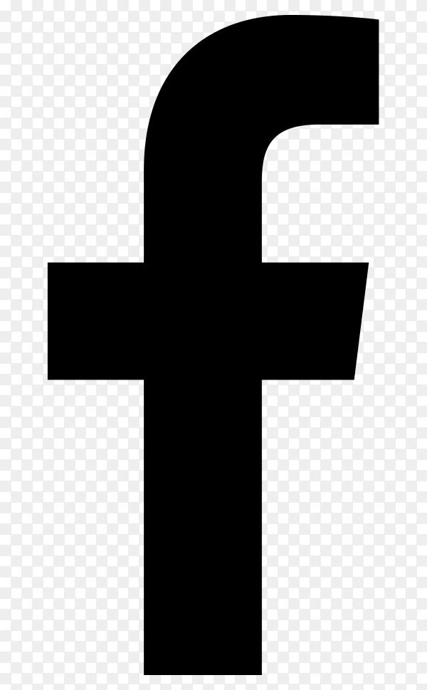 Black facebook icon on transparent background PNG