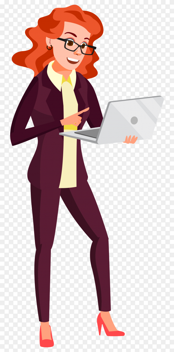 Business woman holding laptop computer on transparent background PNG