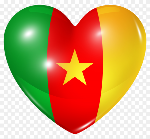 Cameroon flag in heart shape on transparent background PNG