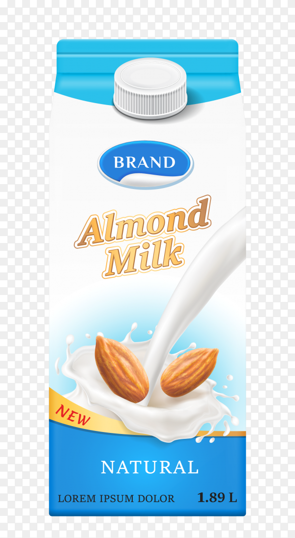 Carton box with almond milk on transparent background PNG