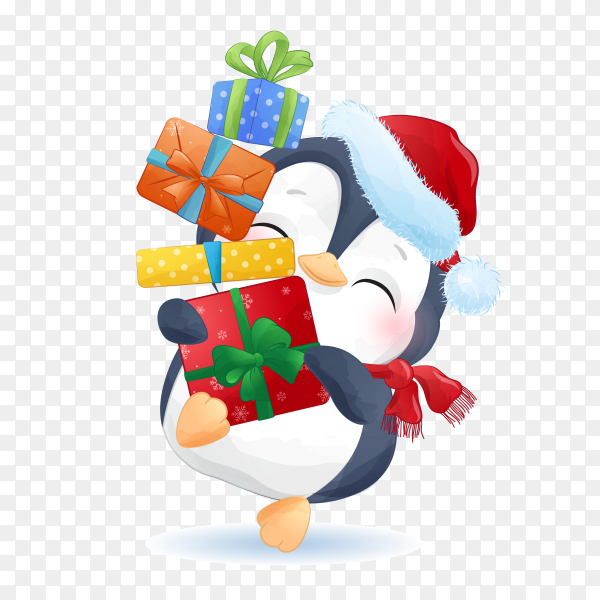 Cartoon penguin with Christmas gifts on transparent background PNG