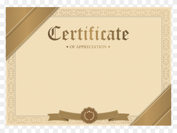 Certificate of appreciation template with gold border premium vector PNG