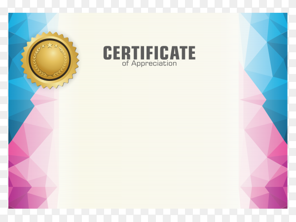 Certificate template with dynamic and futuristic polygonal color and modern shape on transparent background PNG