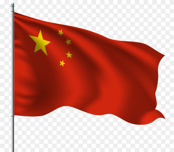 China waving flag on flagpole on transparent background PNG