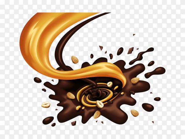 Chocolate and Caramel splash on transparent background PNG