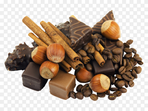 Chocolate and spices on transparent background PNG