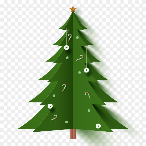 Christmas tree in paper style on transparent background PNG