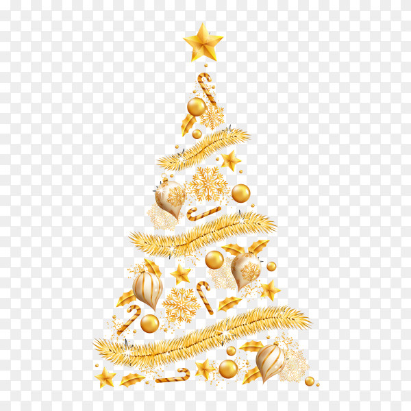 Christmas tree made of realistic golden decoration premium vector PNG