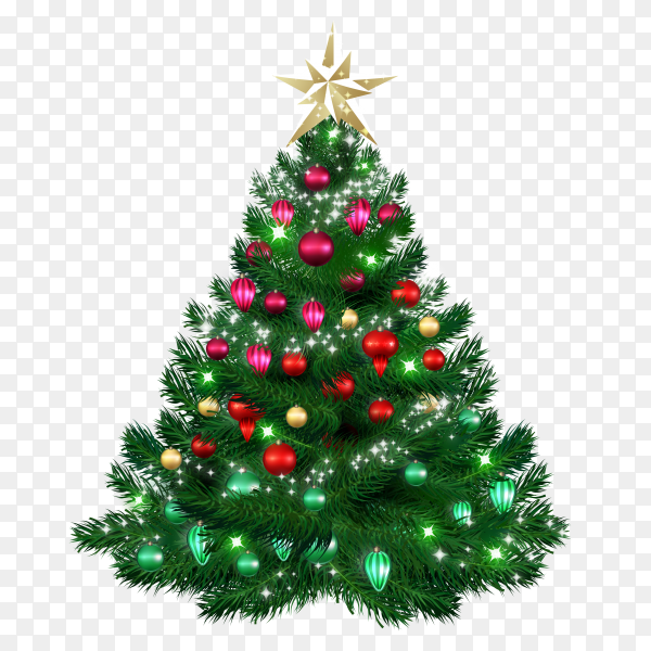 Christmas tree with bright baubles on transparent background PNG