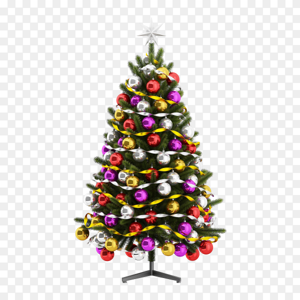 Christmas tree with decorations on transparent background PNG