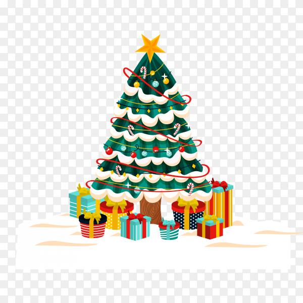 Christmas tree with gifts on transparent background PNG