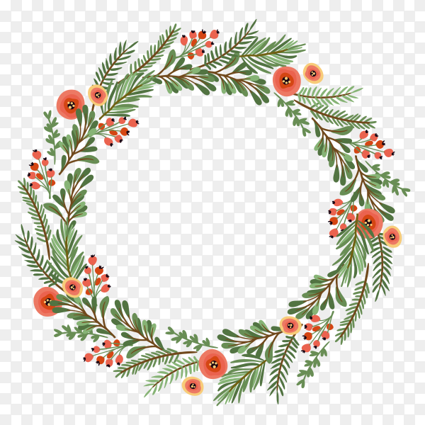 Christmas wreath design on transparent background PNG