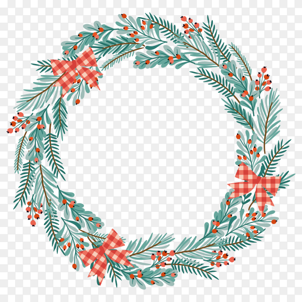 Christmas wreath on transparent PNG