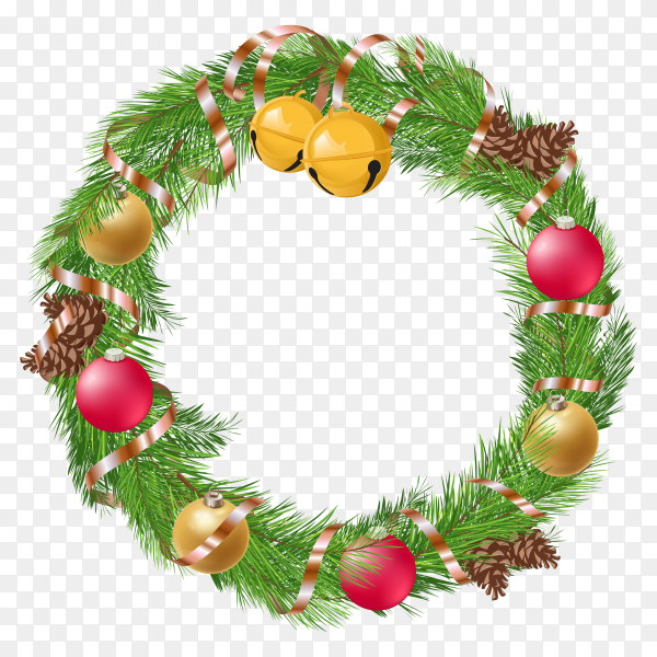 Christmas wreath with decorations pine cones on transparent background PNG