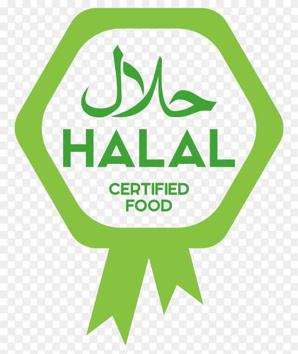 Classic green halal label with flat design premium vector PNG