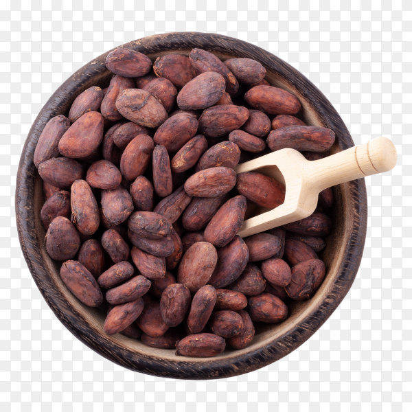 Cocoa beans in a wooden bowl on transparent background PNG