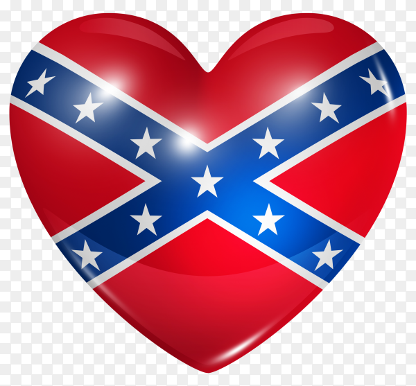Confederate flag in heart shape on transparent background PNG