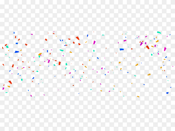 Confetti and colorful ribbons on transparent background PNG