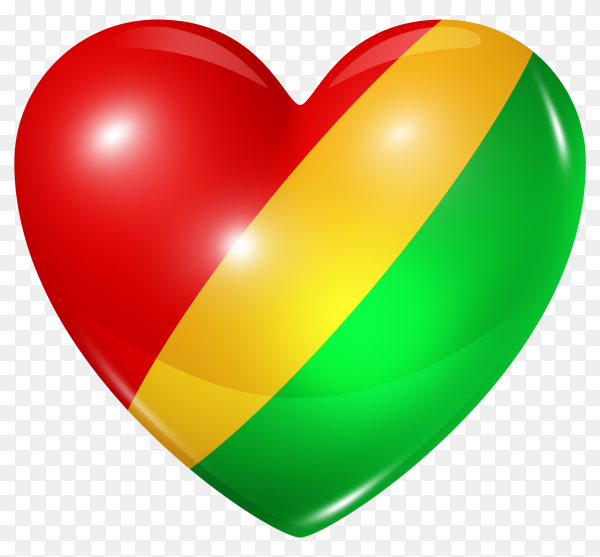 Congo flag in heart shape on transparent background PNG