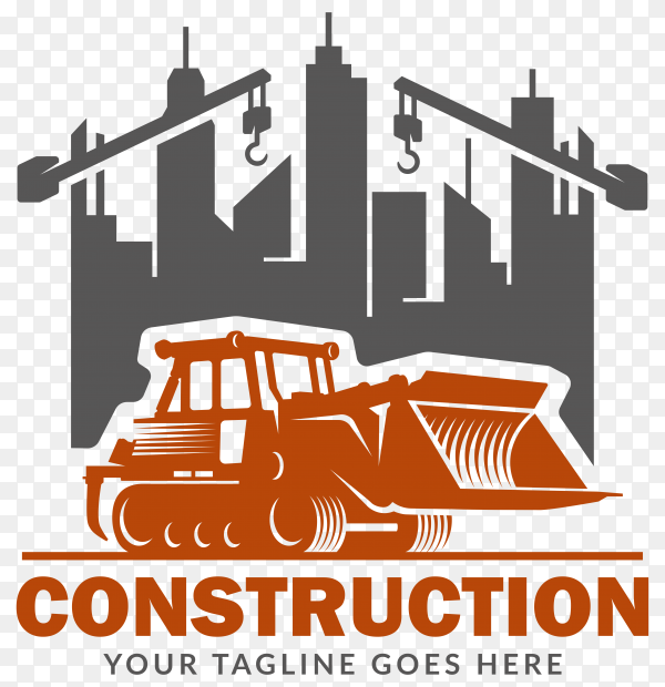 Construction logo on flat design on transparent background PNG