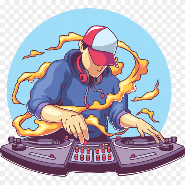 Cool disc jockey with headphone mixing music on transparent background PNG