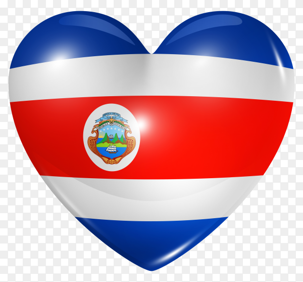 Costa Rica flag in heart shape on transparent background PNG