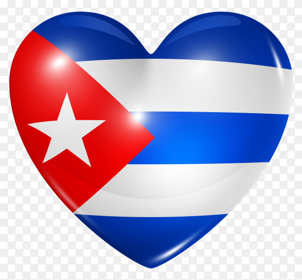 Cuba flag in heart shape on transparent background PNG