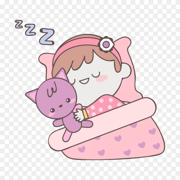 Cute Baby girl sleeping with toy on transparent background PNG