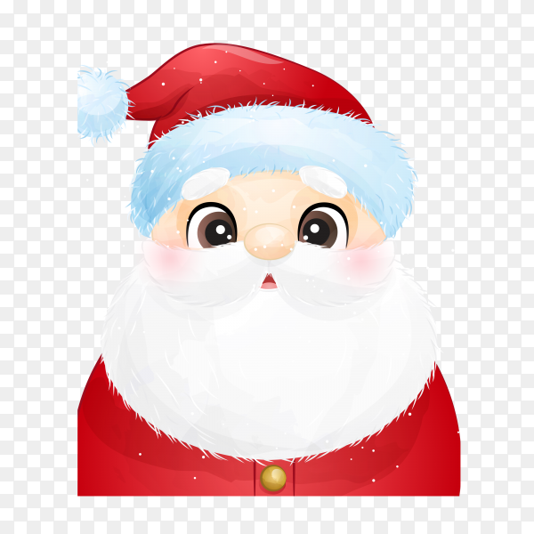 Cute santa claus with watercolor illustration on transparent background PNG