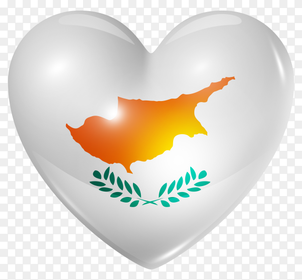 Cyprus flag in heart shape on transparent background PNG