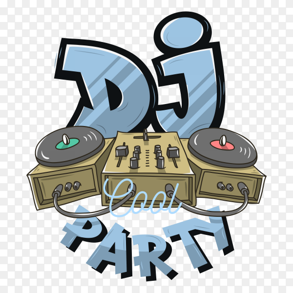DJ party poster on transparent background PNG