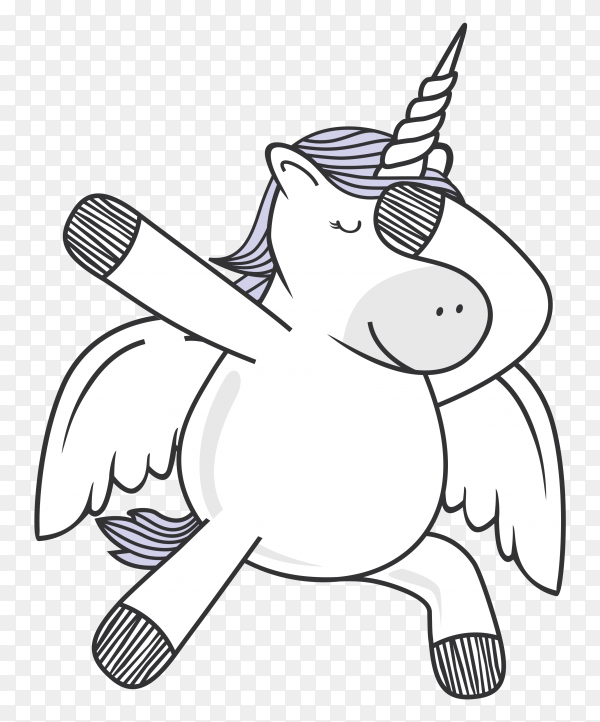 Dabbing unicorn dance on transparent background PNG
