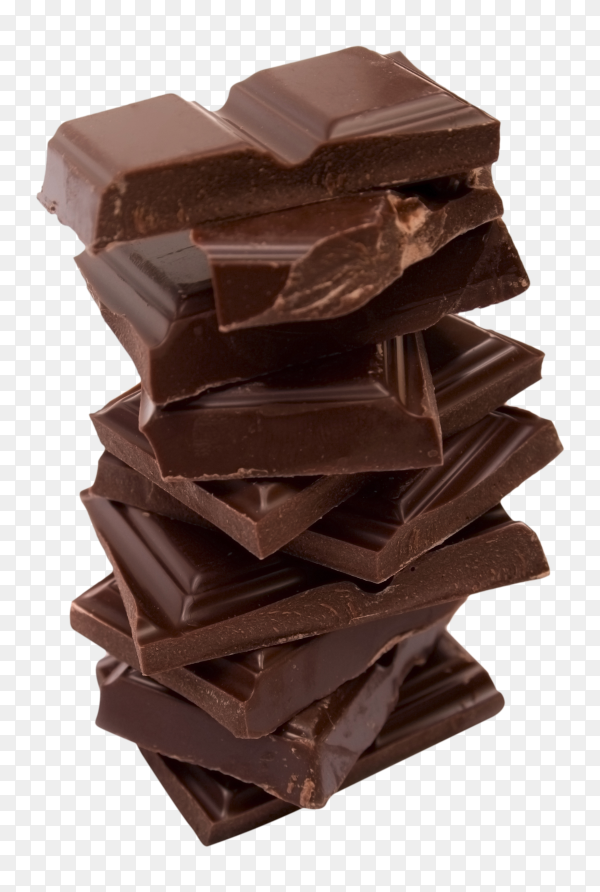 Dark chocolate bar isolated on transparent background PNG