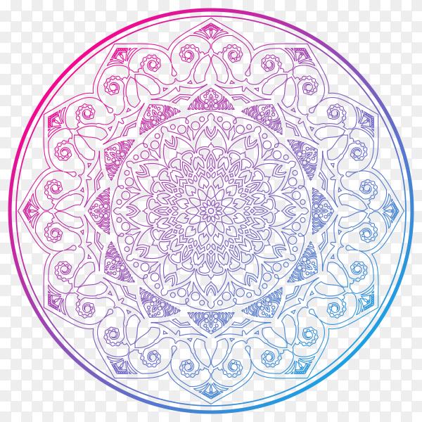Decorative colorful mandala on transparent background PNG