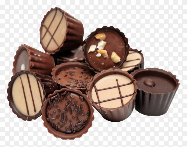 Delicious Mixed Chocolates on transparent background PNG