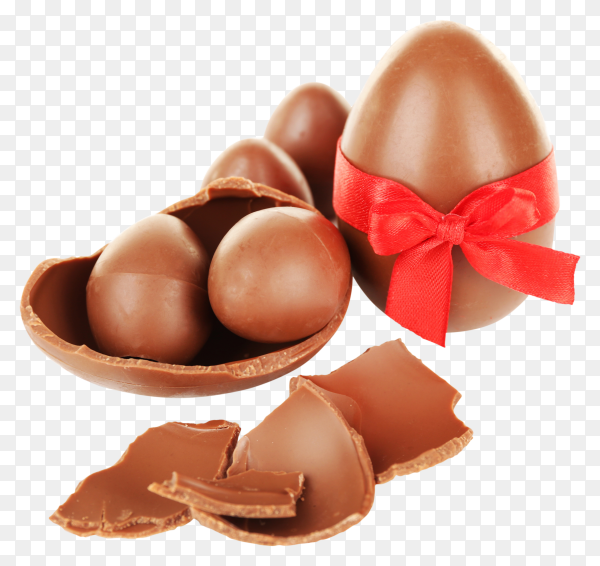 Delicious chocolate eggs on transparent background PNG