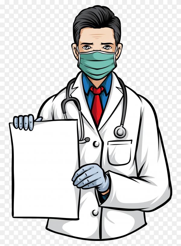 Doctor holding paper and wearing medical mask illustration on transparent background PNG