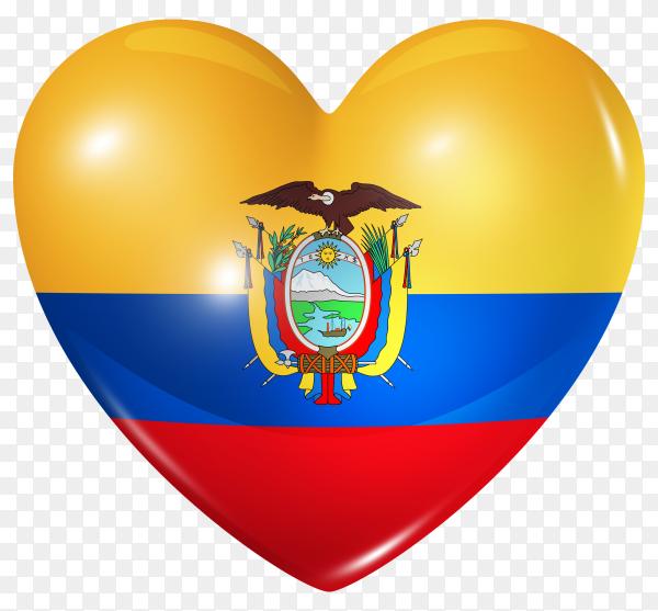 Ecuador flag in heart shape on transparent background PNG
