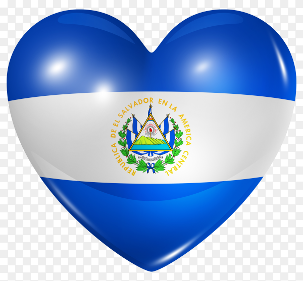 El Salvador flag in heart shape on transparent background PNG