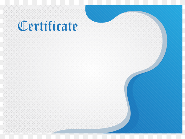 Elegant blue diploma certificate template on transparent background PNG