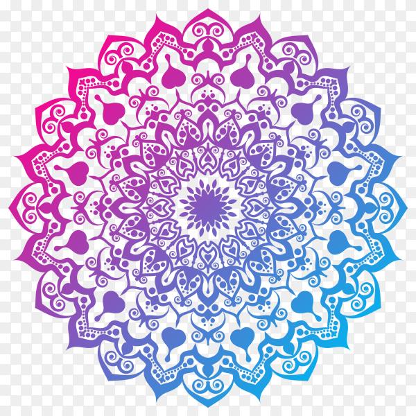 Elegant colorful mandala on transparent background PNG