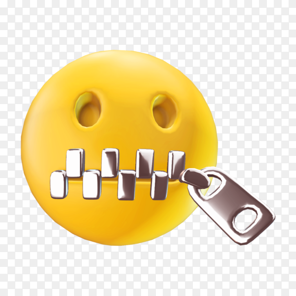Emoji face with close mouth on transparent background PNG