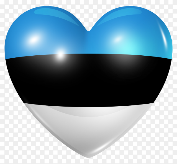 Estonia flag in heart shape on transparent background PNG